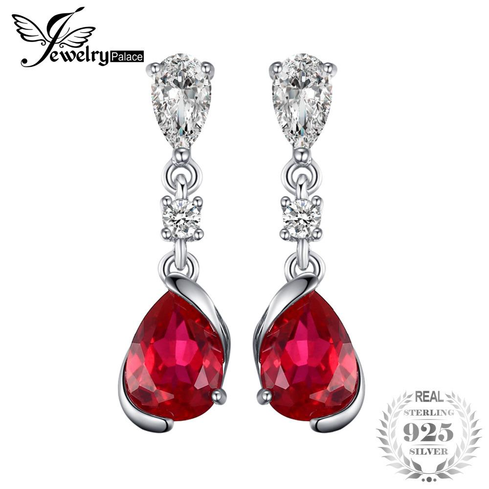 JewelryPalace 2.4ct Pear Red Created Ruby Drop Earrings 925 Sterling Silver New Fashion Earrings For Women Wedding JewelryY1882503