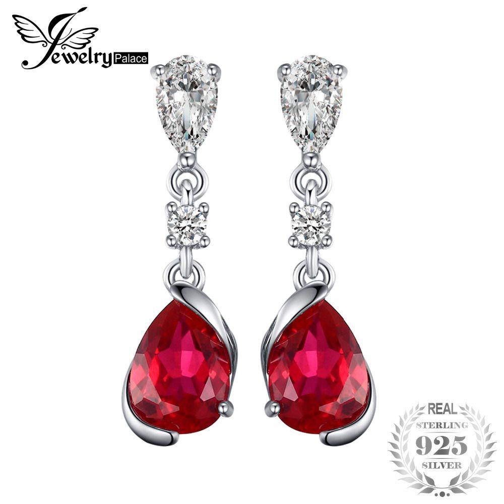 Jewelrypalace 2.4ct pear red criado rubi brincos 925 brincos de prata esterlina nova moda para as mulheres do casamento jewelryy1882503