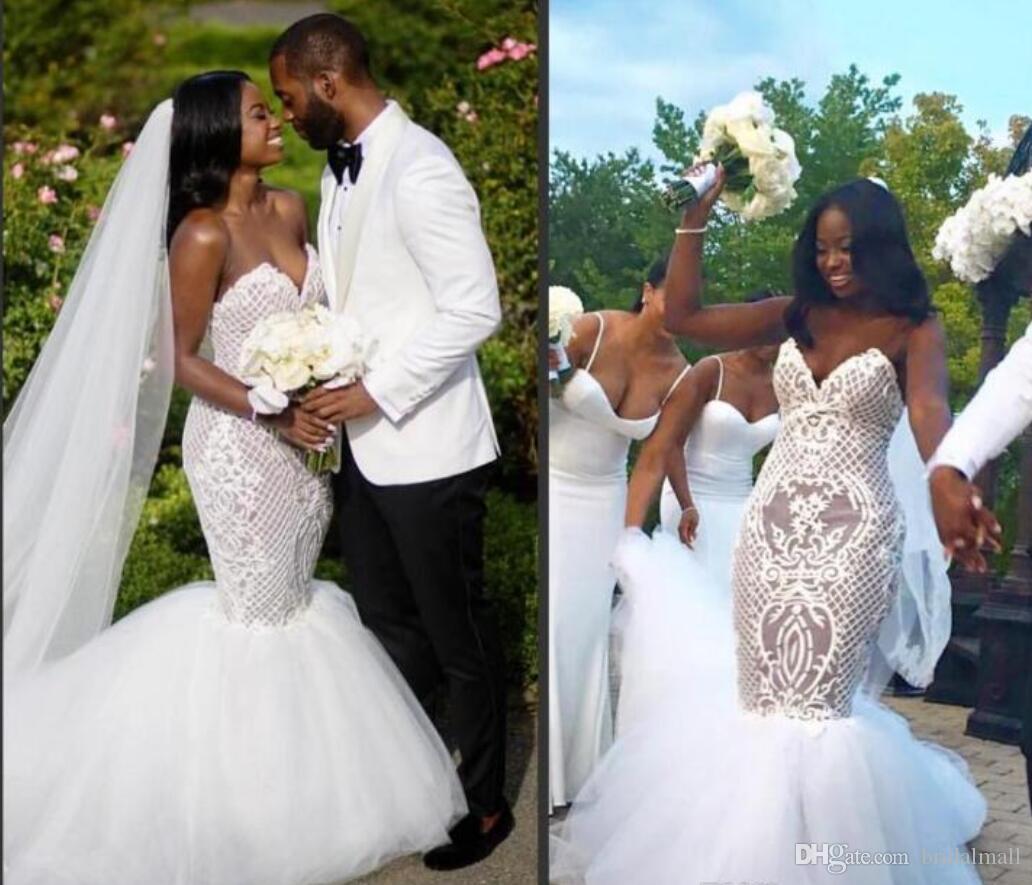 Plus Size 2020 African Mermaid Brautkleider Schatz Applizierte Spitze Arabisch Brautkleider Gericht Zug Brautkleid Vestido de novia