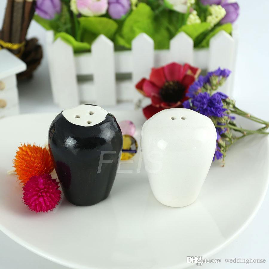 الجملة FEIS 2PCS العروس والعريس السيراميك الملح والفلفل الهزازات تفضل الزفاف والهدايا المطبخ سيون