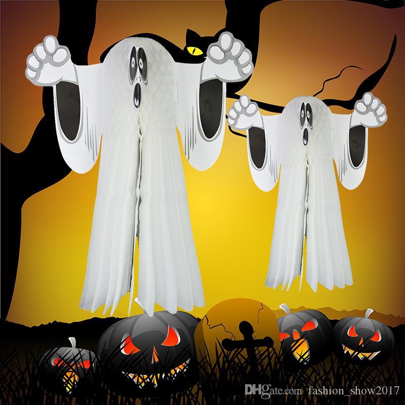 Хэллоуин Бумага Висит Призрачный Плащаница Двери Вешалка Складная Весело Белый Хэллоуин Партия Реквизит Украшения Хэллоуин Поставки