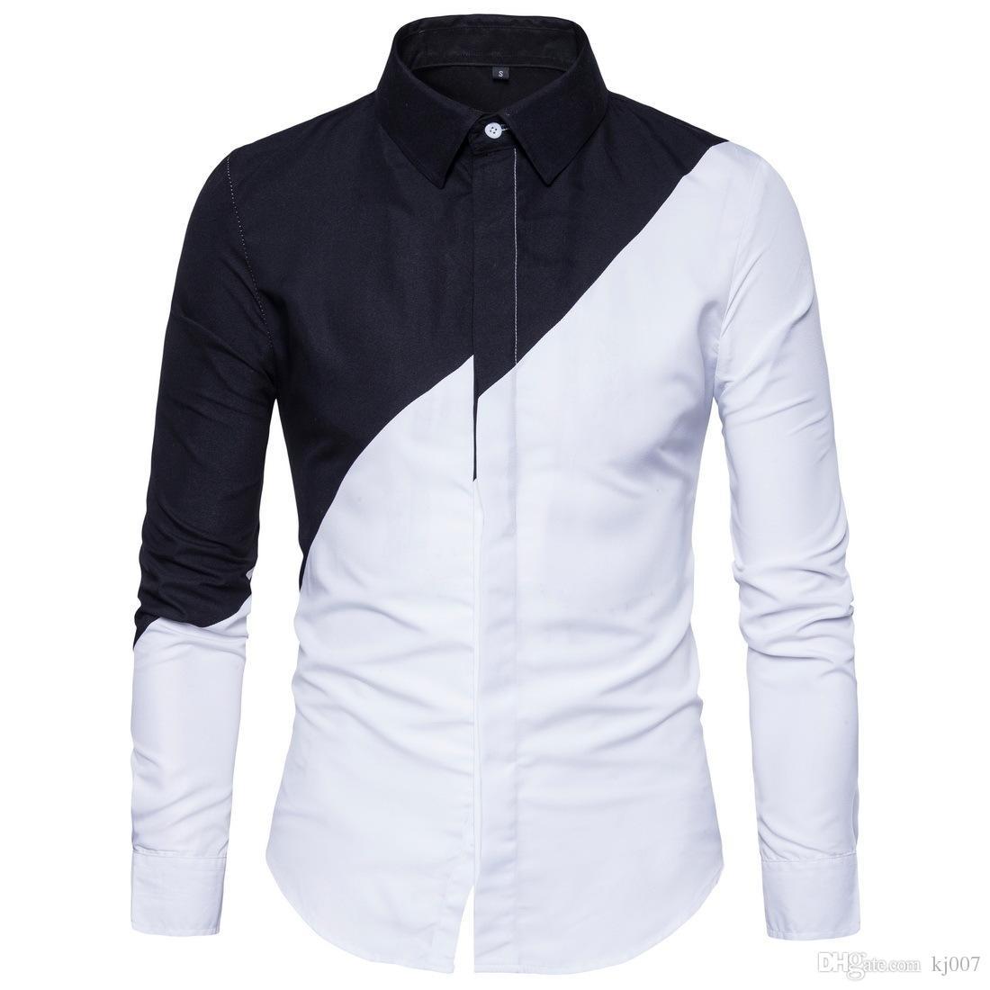 Новый стиль горячая рубашка лето мужская черный и белый повседневная рубашки шить с длинными рукавами рубашки для мужчин контраст цвет Горячий ТОП мода одежда