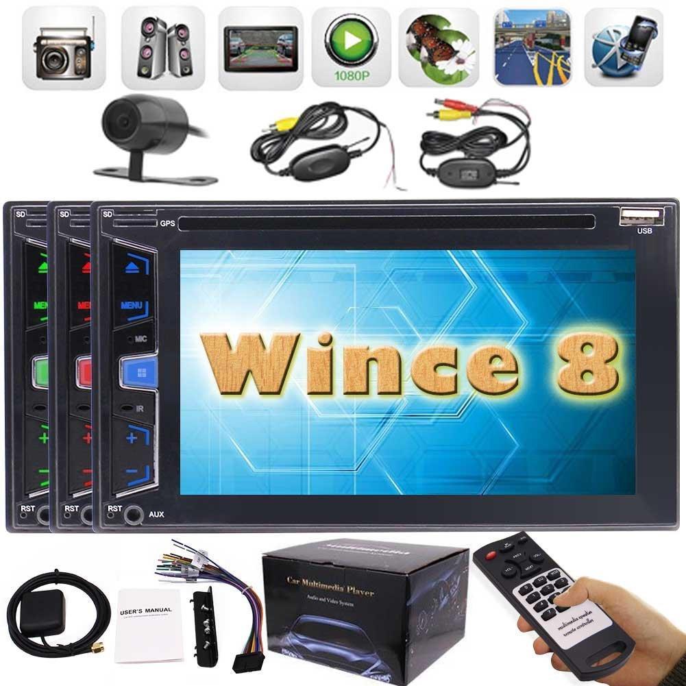 DVD del coche GPS Radio Estéreo 6.2 '' Headunit Bluetooth FM AM Receptor USB Aux. Auto audio autoradio Reproductor de DVD Cámara inalámbrica inversa gratis