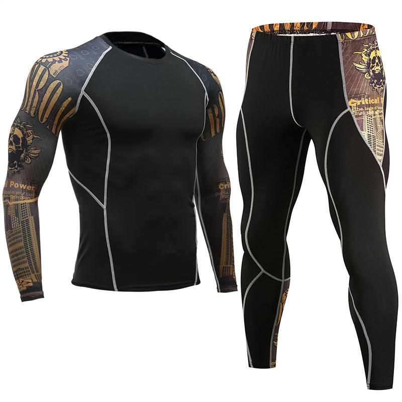 Mens New Base Layer Sets Compression Shirt + Pants Skin-Tight Long Sleeves Fitness Rashguard MMA Bodybuilding Gyms Fitness Suits