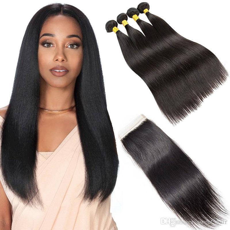 스트레이트 레미 인간의 머리카락 4 묶음 레이스 클로저 자연 블랙 7a 버진 레미 인간의 머리카락 거래 최고의 품질 저렴한 브라질의 머리카락