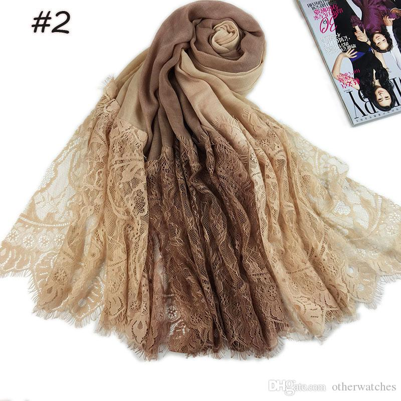 Popular new lace stitching cotton scarf Transition color breathable thin women's long scarf