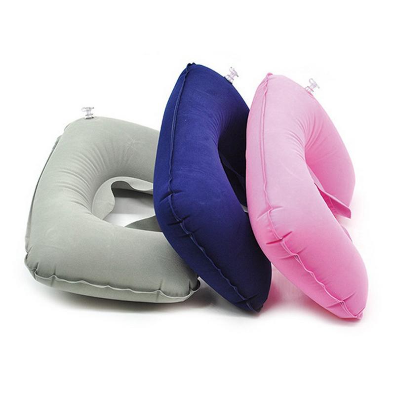 U 모양 풍선 베개 보호 어린이 목 베개 여행 비행기 자동차 접는 휴대용 앉아서 잠자기 도구