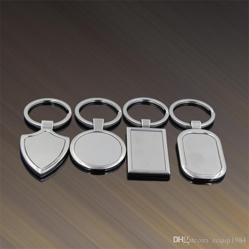 Keychains in bianco del metallo creativo che annuncia il modo su ordinazione dei portachiavi del LOGO per i regali promozionali Anello chiave dell'acciaio inossidabile