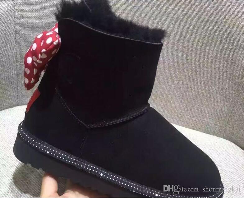 Mais recente Projeto Sapatos Curtos Botas Mulheres Criança Baby Boy Girl Crianças Bow-Tie Botas De Neve Fur Integrado Manter Botas Quentes UE Tamanho 25-41