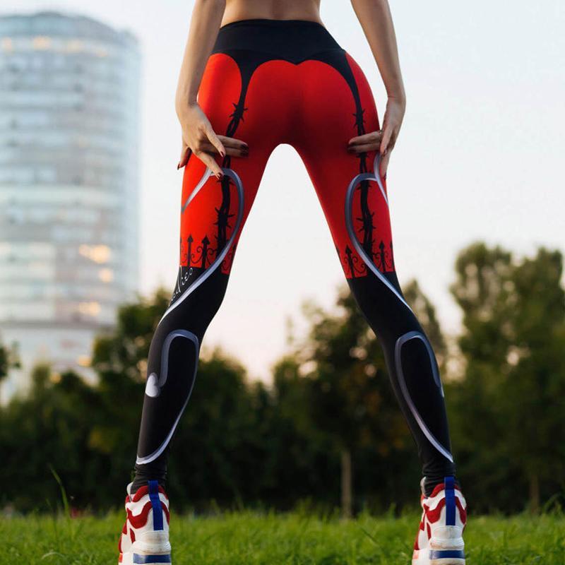 Leggings di fitness casual da donna con stampa a cuore nero sexy all'ingrosso Leggings con patchwork di colore rosso