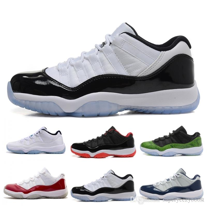 Venta al por mayor 11 XI Men Low Basketball Shoes Black Stingray Gym Red Chicago Midnight Navy Space Jams Deportes baratos Sneaker US 5.5-13