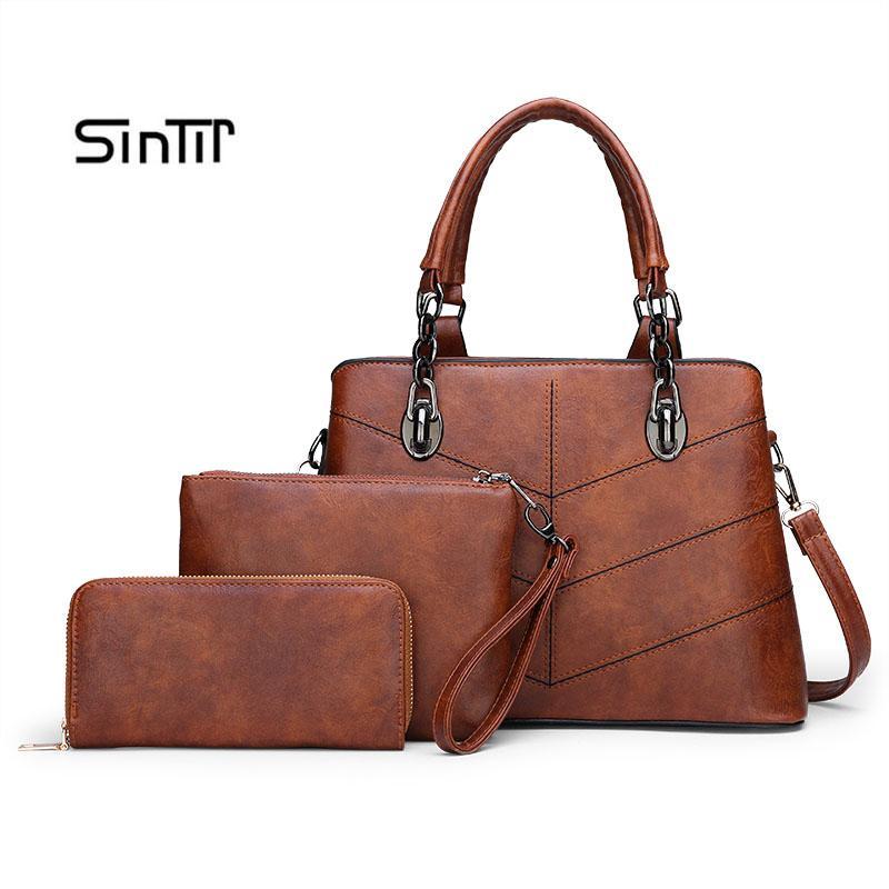 3 Набор женщин сумки Большой мешок Tote плеча Crossbody сумка с мягкой искусственной кожи Женский Посланника Малый кошелек