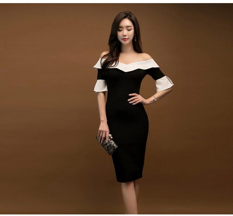 c6499e822e9 Printemps Summe Femmes Robe Noire Avec Col Blanc Robe Top Qualité De  L épaule V ...