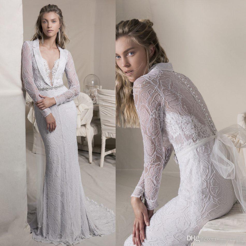 Lihi HOD 2019 русалка свадебные платья Deep V-образным вырезом Полное кружевное аппликация с бисером свадебные платья с длинными рукавами камуфляжные свадебное платье