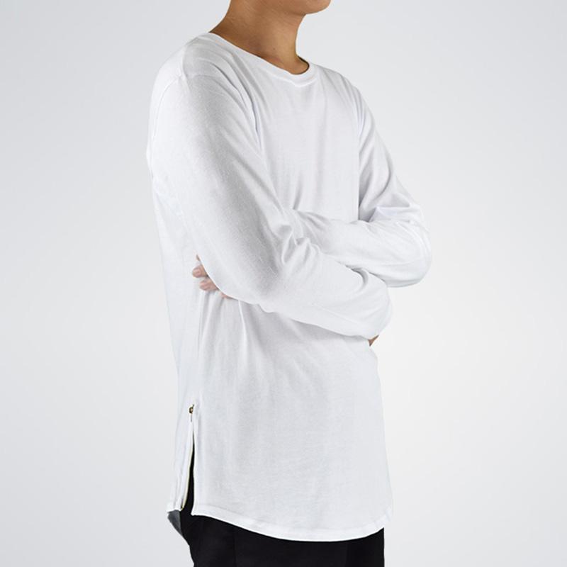 Moda Desgaste Da Rua T Shirt Homens Estender Ganhos Zip Lado T Shirt Super Longline Manga Longa T-Shirt Com Curva Hem E Zip Frete Grátis