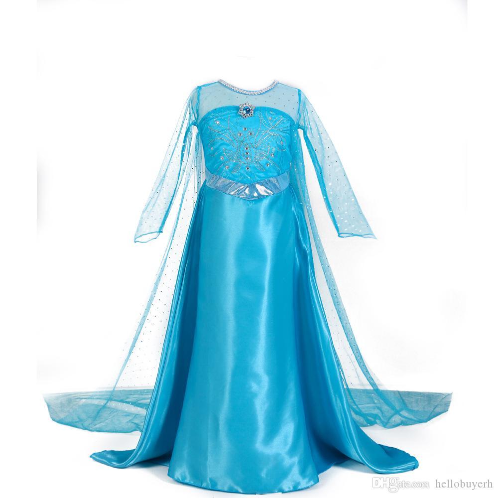 Хэллоуин внешней торговли взрывы Детская одежда лед романтика девушки платье с длинными рукавами Принцесса цветочница платья