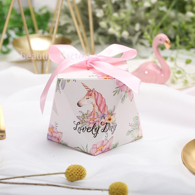 100pcs Unicorn Candy Boxes Diamond Shape With Ribbon Gift Wrapping Box Wedding Favours Multi Style for Choose New