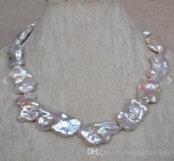 Collana di perle Nucleated enorme, collana di colore bianco perla d'acqua dolce da 18 pollici 20-36 mm, gioielli regalo donna matrimonio compleanno.