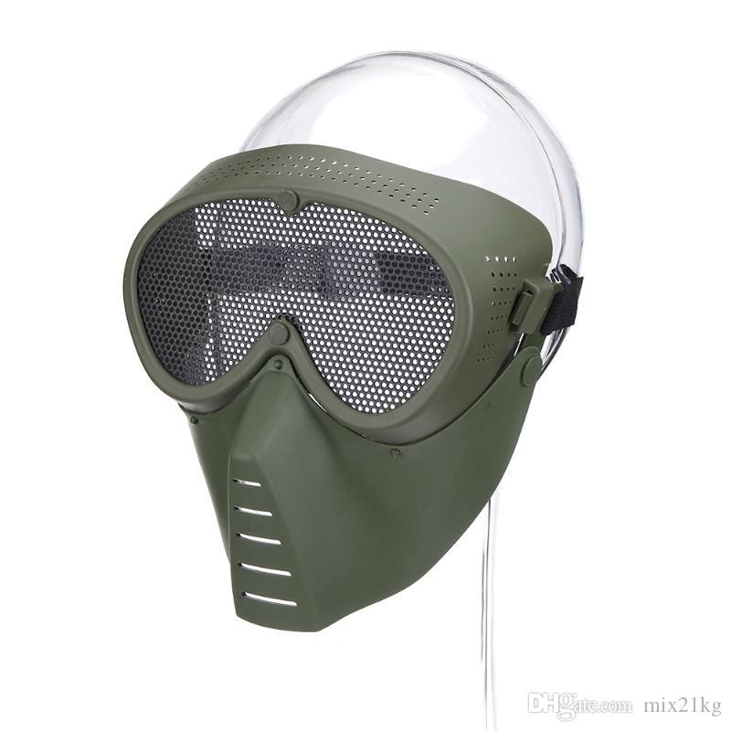 Airsoft Maskesi Yarım Yüz Metal Çelik Net Hasır Maskesi Avcılık Taktik Açık Koruyucu CS Cadılar Bayramı Partisi Yarım Bisiklet Yüz Maskesi