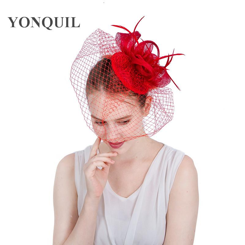 2017 NEW Arrival Veil fascinator hat on hair clips 17colors women feather headband wedding church new year hats mesh hair accessories SYF155