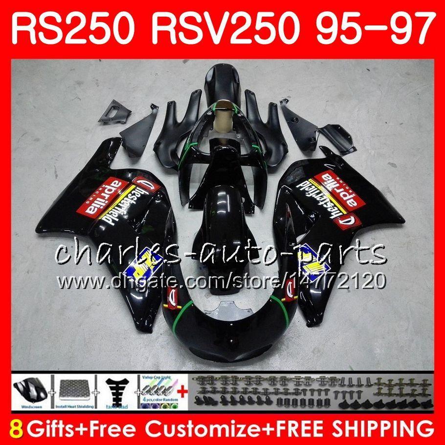 Nadwozie dla Aprilia RS-250 RSV250 RS250 95 96 97 Ciało 101HM5 RSV250RR RS250R 95 97 RSV 250 RR R 350 1995 1996 1997 Gloss Black Fairing