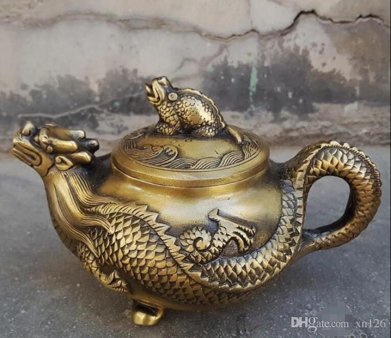Antique copper dragon pot decoration teapot home decoration craft gift antique miscellaneous collection