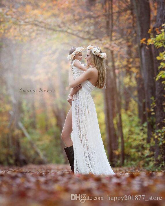 Beyaz Annelik Elbise Gebelik Fotoğraf Sahne Dantel Tüp Maxi Elbise Hamile Kadınlar için Zarif Fotoğraf Çekimi Dantel Elbiseler için Plaj