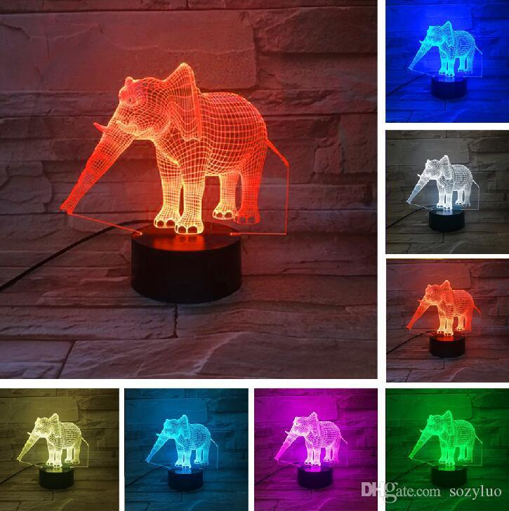 Incroyable Dessin Animé Animal Forme D'éléphant 3D Illusion LED Lampe De Table Nuit Lumière Couleurs Change Effet Vacances De Noël Noël Nouvel An Thanksgiving Cadeaux