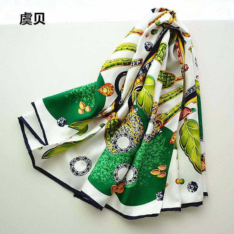 Белый и зеленый женщины шарфы большой размер Шелковый саржа шарф квадратный платок дамы шейный платок женский бандана 90 см * 90 см рождественский подарок