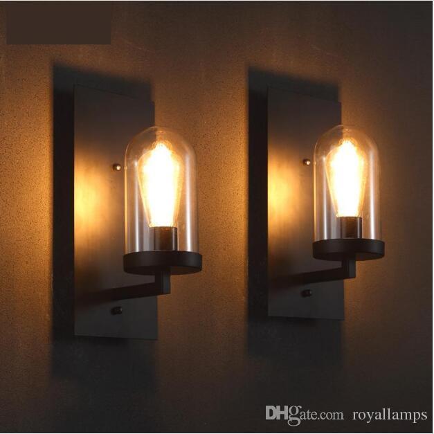 SVITZ Hallway Retro wall sconce glass lamp cover black Industrial Wrought iron wall Lamp corridor Bar Cafe loft Professional lighting