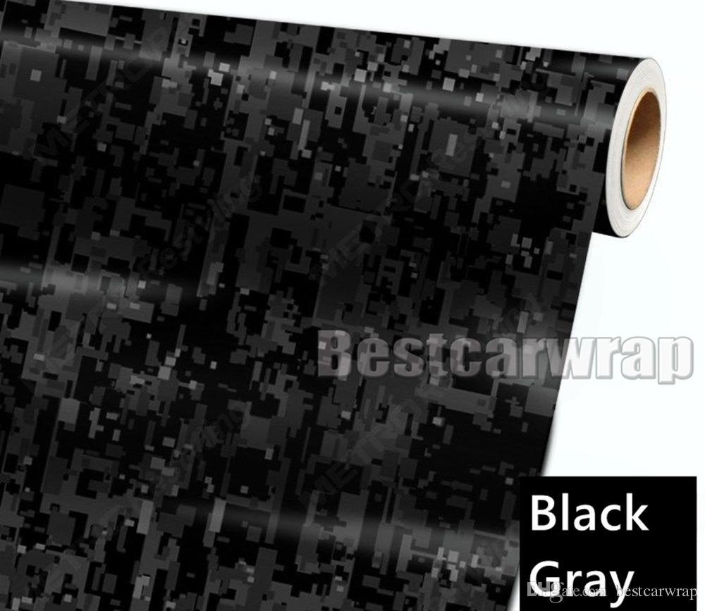 Black Grey Digital Tiger Camo Vinyl Car Wrap With air bubble Free Pixel Camouflage Graphic Car Sticker Film size 1.52x30m 5x98ft