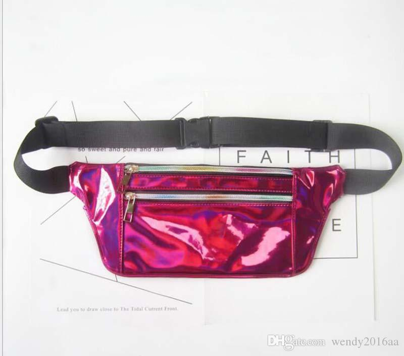 Laser 2018 Packung und dünne Art Geldbörse Light Bags Hologramm Metallic Silver Funkle 50pcs Taille Fanny Tasche Frauen Brustreisen Festival 6Col ASMW