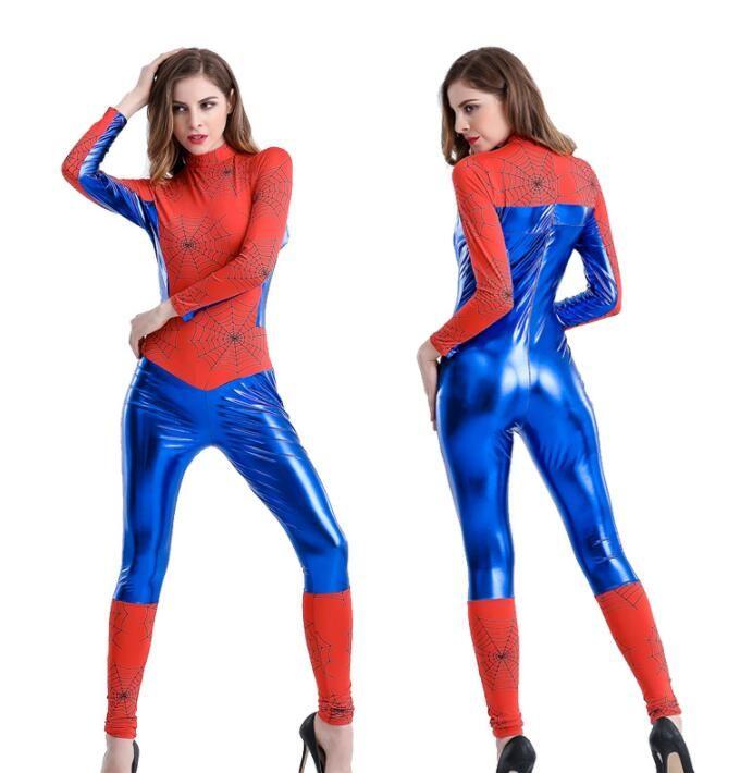 sexy Frauen Halloween Weihnachten Cosplay Spider Man Kostüm Superheld Overalls Anime Cartoons Party Lady Fancy Dress Bodysuit