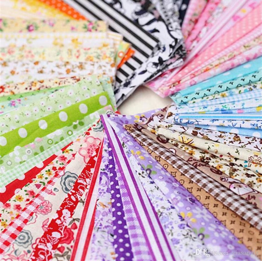 "100pcs 4"" x 4"" Mixed Florals Dots Stripes Cotton Craft Fabric Cloth Bundle Squares Tissue Patchwork Sheet DIY Sewing Quilt"