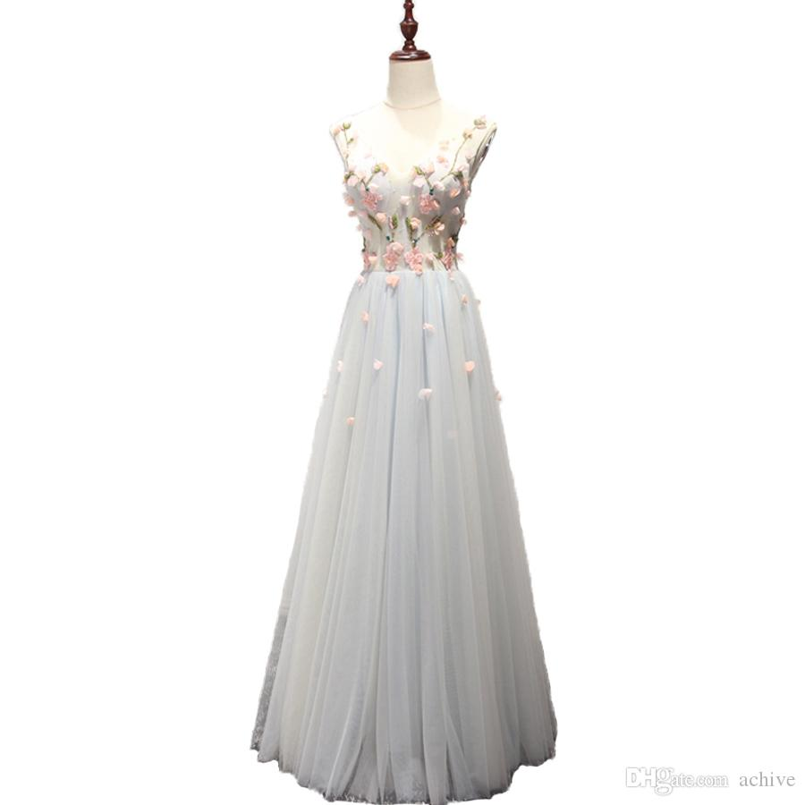 Hot Sale Beading Flowers Long Prom Dresses 2020 Tulle Silver Sexy Evening Party Gowns V Neck Beach Prom Dress Long Homecoming Dresses