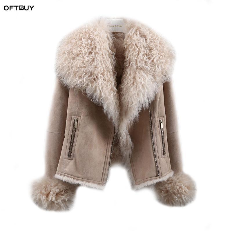 OFTBUY 2018 Winter Jacket Women Real Double-faced Fur Coat Natural Mongolia Sheep Fur Parka Biker Streetwear Vintage Fashion