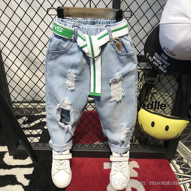 Дети Сломанные Hole Брюки Брюки +2018 мальчиков Джинсы Brand Мода Осень 2-6Yearrs Детские брюки Детская одежда (Нет пояса)