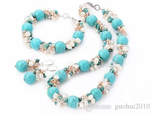 Handmade chunky white real freshwater pearl crystal turquoise stone statement necklace bracelet earrings set fashion jewelry