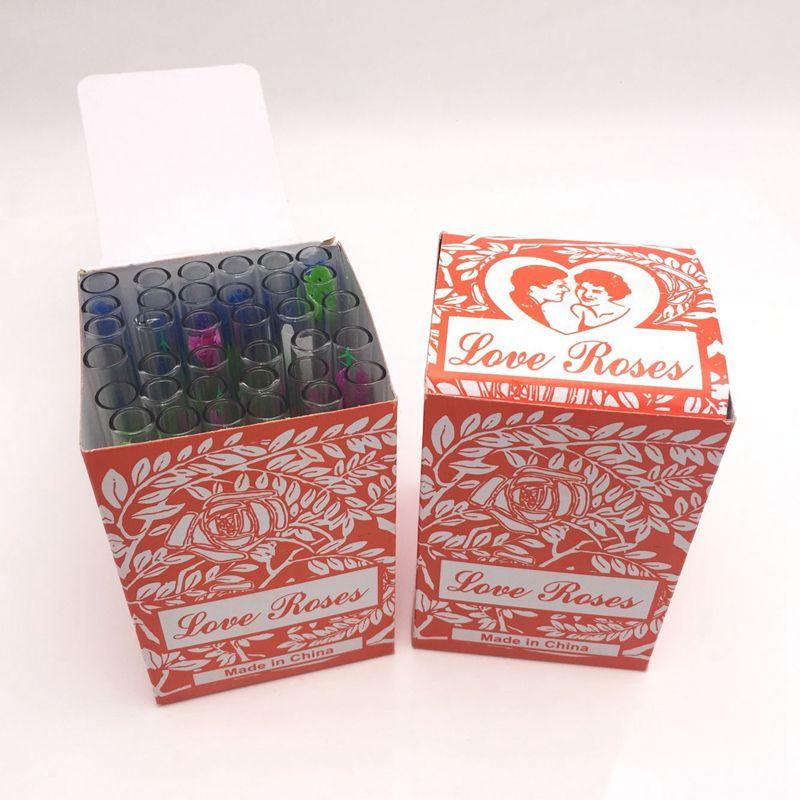 Liebe Rose Glasrohr Farbige Glaspfeifen Bohrinsel Wasserpfeife Rauchpfeifen Handrohr mit Plastikblumen für Tabak Bong Shisha