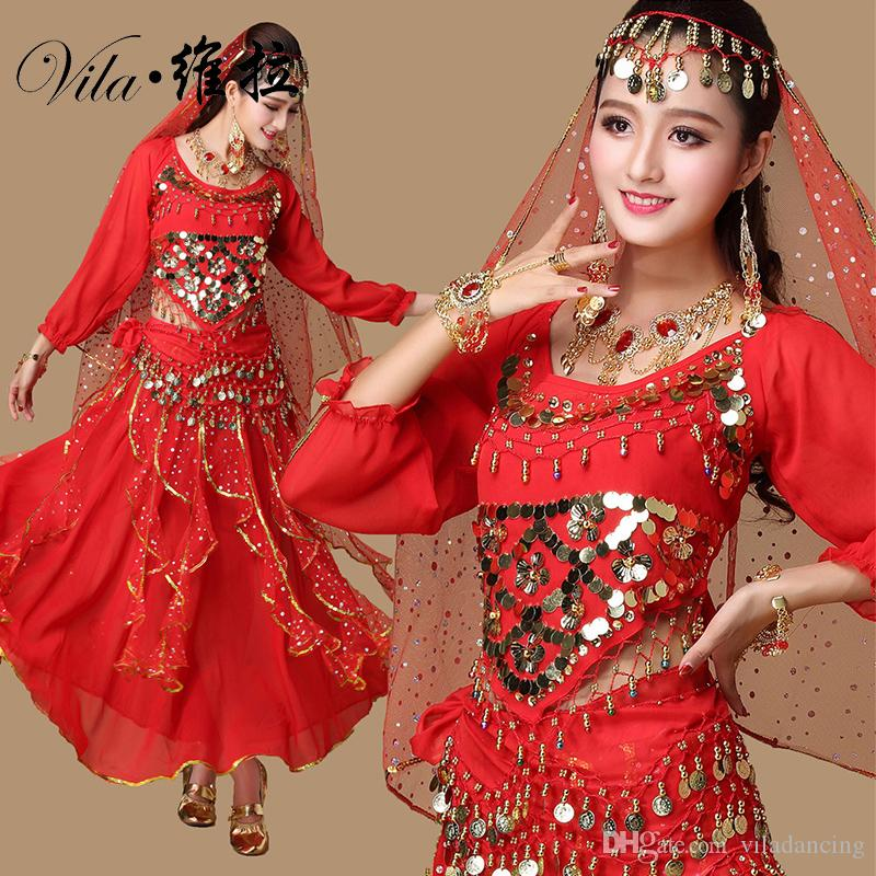 9pcs Set Belly Dance Costume Bollywood Costume Indian Dress Bellydance Dress Womens Belly Dancing Costume Sets 6 Color