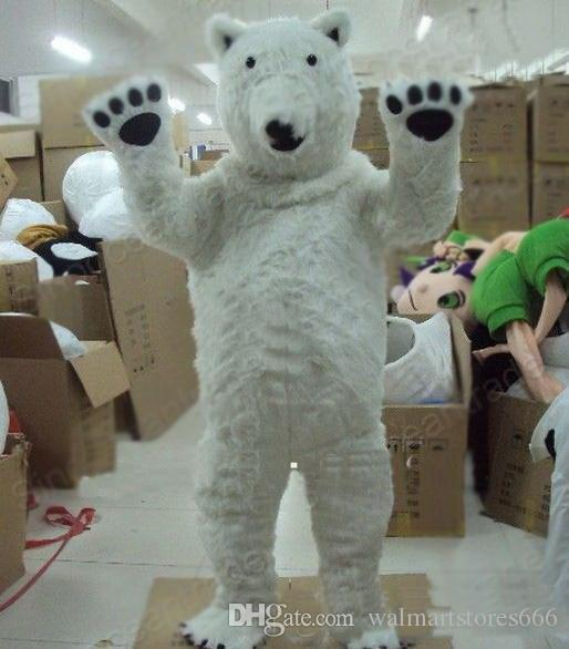 2018 High Quality Professional Polar Bear Mascot Costume Fancy Dress Adult Size for Halloween party event