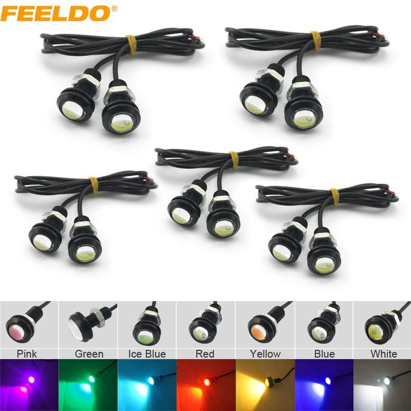 FEELDO 10PCS 힘 3W 렌즈 매우 얇은 18mm 차 LED 독수리 눈 꼬리 빛 백업 후방 램프 DRL 빛 7 개의 색깔 # 1020