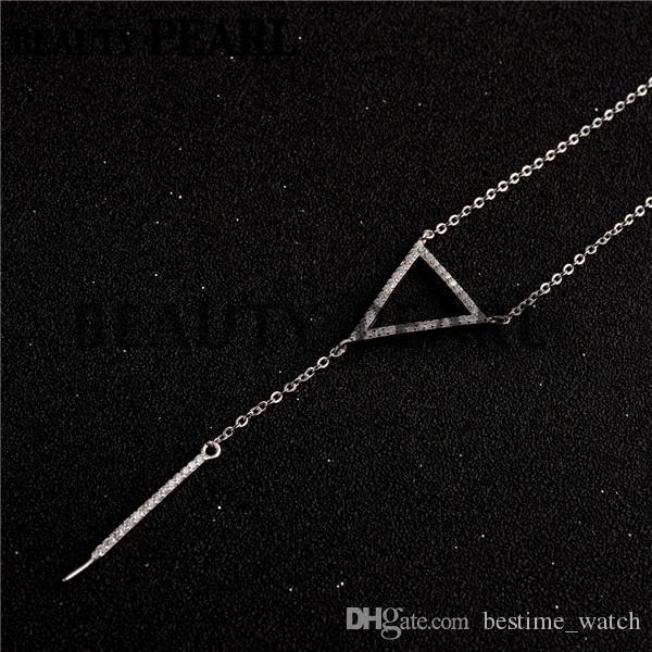 HOPEARL Jewelry Drop Pearl Pendant Necklace Blank Cubic Zirconia Triangle 925 Sterling Silver Mount 3 Pieces