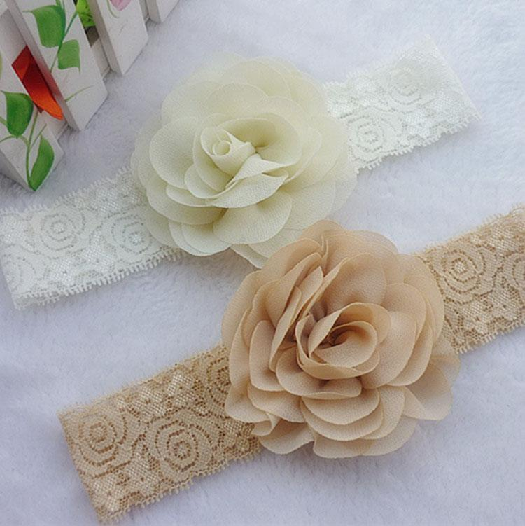 Rosette Flower With Lace Headband 16 Colors 36pcs Lot Headwear Hair Accessories 3.2 Girls