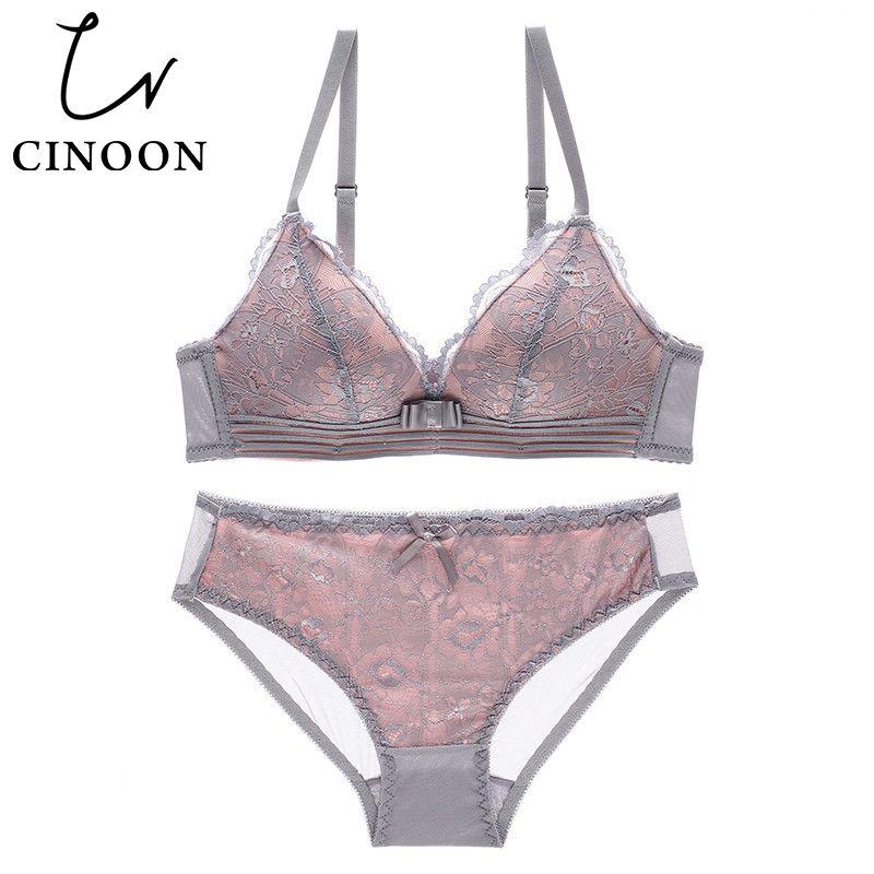CINOON YENI Seksi Intimates Sutyen Seti kadın tel ücretsiz Iç Çamaşırı Dantel Lingerie Push Up bralette Rahat Sutyen ve külot Setleri