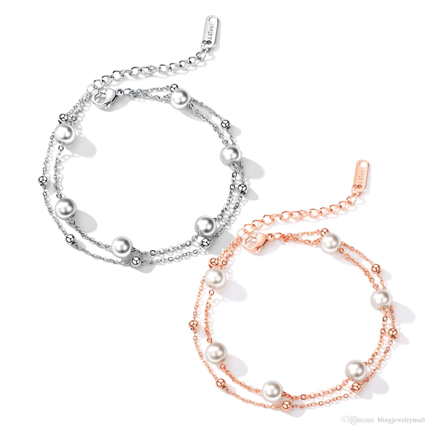 Double Layer Charm Bracelets & Bangles Silver/Rose Gold Color Fashion Simulated Pearl Beads Wedding Jewelry For Women GS921