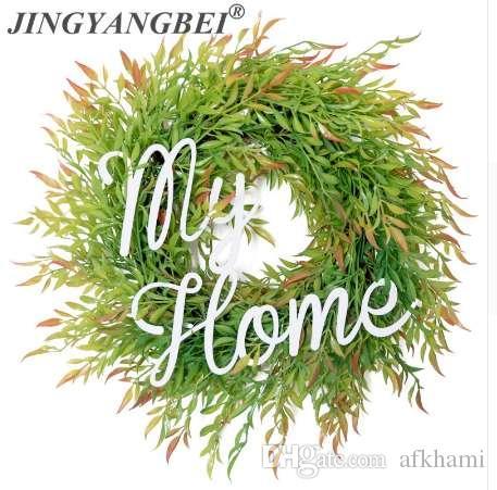 Mi hogar guirnalda de plantas artificiales helechos puerta de hierba dintel flor ronda guirnalda de flores de pared decoración de la boda en casa