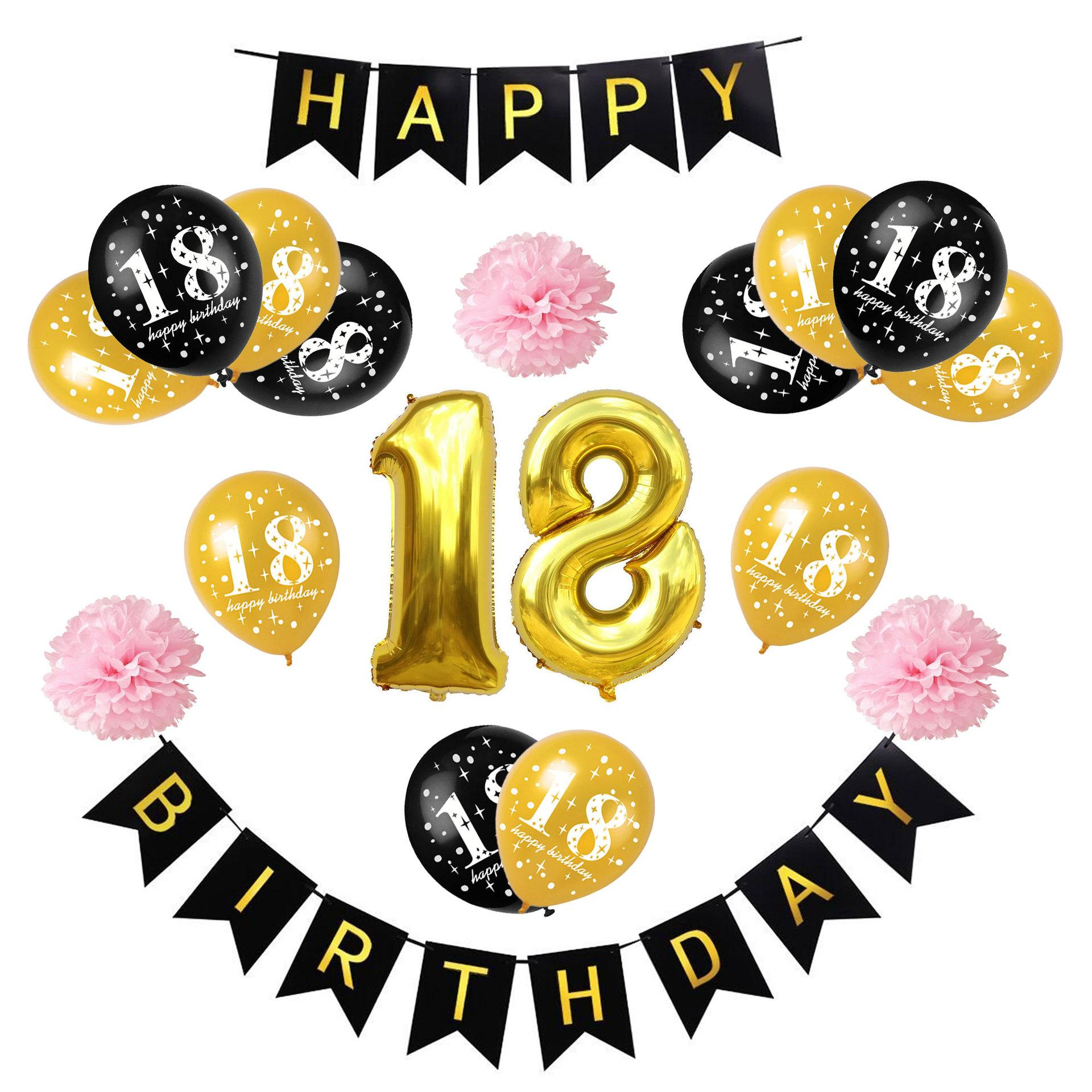 18th Birthday Party Decorations Gold Black Balloon Foil Digital