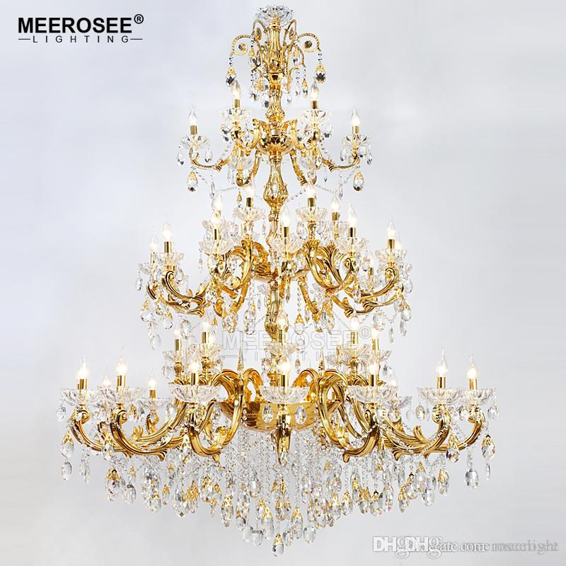 Luxurious Crystal Chandelier Large Elegant Gold Silver Color Crystal Suspension Light Fixture for Hotel Restaurant Foyer Home