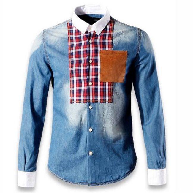 Blue Jeans Shirt Men Big Size 3XL Man Denim Cotton Shirts Stitch Detail Destroyed Vingate Trim Fitness Patchworks